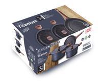 Conjunto de Panelas Titanium Mta 3 Peças Revestimento Cerâmico - Indução -