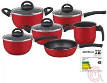 Conjunto De Panelas Vermelho 06 Peças Com Teflon - Marpal