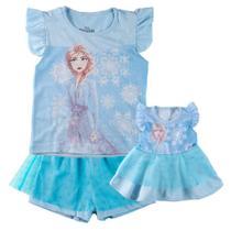 Conjunto de Pijama Infantil e Camisola para Boneca - Disney - Frozen 2 - Elsa -100% Algodão - Azul - Minimi -