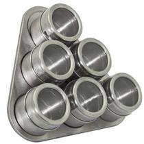 Conjunto de Porta Condimentos em INOX 6 Potes com IMA Mimo STYLE AL1402 5022 -