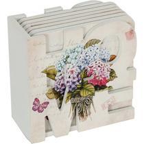 Conjunto de Porta Copo com Suporte em Mdf  Horteses Flowers Urban Colorido -