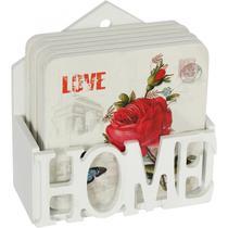 Conjunto de Porta Copo com Suporte em Mdf  Roses Urban Colorido -