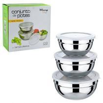 Conjunto de Potes com 3 Peças em Aço Inox - Ref. IXB0151 - Wincy -
