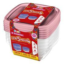 Conjunto de Potes De Plástico Leve 5 e Pague 4 - Sanremo -