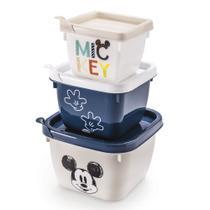 Conjunto de Potes de Polipropileno Quadrado Conect Mickey Baby - 3 peças - Plasútil