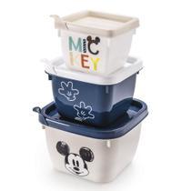 Conjunto de Potes de Polipropileno Quadrado Conect Mickey Baby - 3 peças - Plasútil -
