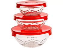 Conjunto de potes de vidro com tampa - 3 peças - Casa Ambiente