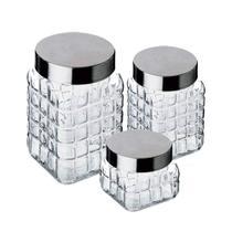 Conjunto de Potes de Vidro com Tampa de Inox 3 Peças CLASS HOME -