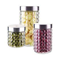 Conjunto De Potes De Vidro Com Tampa Inox Bubble 3 Peças Euro -