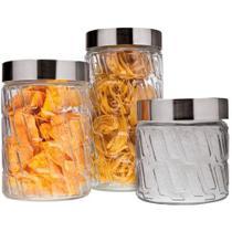 Conjunto de Potes de Vidro com Tampa Mosaico 3 Peças VDR2089-3 - Euro -