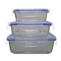 Conjunto De Potes De Vidro Hermético 3pçs - JGTI003 - Casambiente