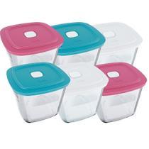 Conjunto de Potes de vidro Marinex Facilita 1 L  Alta com Tampa Plástica - 6 Peças -