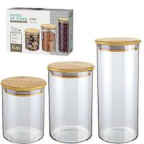 Conjunto de Potes de Vidro Slim com Tampa Bambu 3 Peças Euro - Euro Home