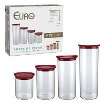 Conjunto de potes de vidro slim com tampa plastica 4 pç - Vermelho - Euro Home