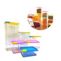 Conjunto de potes hermeticos 6 potes porta alimentos mantimentos organizador empilhavel armario e co - Faça  resolva