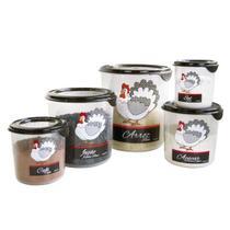 Conjunto de potes para mantimentos galinha 5 peças - Plasvale