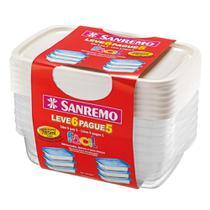 Conjunto de Potes Plásticos 785ml Leve 6 Pague 5 - Sanremo -