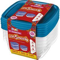 Conjunto de Potes Plásticos Sanremo Leve 5 Pague 4 de 530ml -