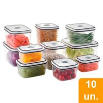 Conjunto de Potes Quadrados Electrolux de Plástico com Tampa Hermética - 10 Peças -