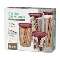 Conjunto de Potes Vidro Slim Euro Tampa Plástica Vermelha 4 Peças -