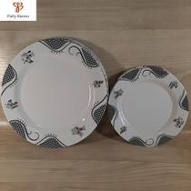 Conjunto de pratos em melamina raso e sobremesa (12 peças) - ART HOUSE