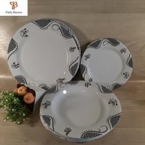 Conjunto de pratos em melamina raso fundo e sobremesa (18 peças) - ART HOUSE