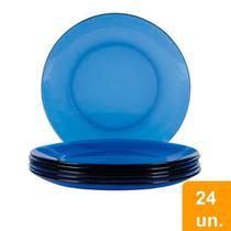 Conjunto de Pratos Rasos Duralex Oceano Vidro 24 peças -