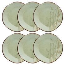 Conjunto De Pratos Rasos Oxford Ryo Porcelana 6 Peças Bambu -