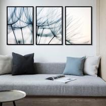 Conjunto de quadros blue dandelion tríptico por juliana bogo - Caverna Quadros