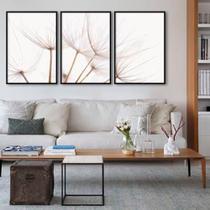 Conjunto de quadros dandelion tríptico sepia por juliana bogo - Caverna Quadros