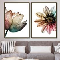 Conjunto de quadros para sala multicolor flower vert por juliana bogo - Caverna Quadros