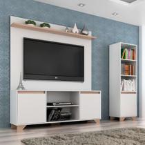 Conjunto de Rack com Painel para TV até 50 Polegadas e Estante Friso I Branco e Siena - Quiditá
