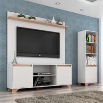 Conjunto de Rack com Painel para TV até 50 Polegadas e Estante Friso III Branco e Siena - Quiditá