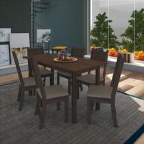 Conjunto de sala de jantar fidelita dubai 150 cm com 6 cadeiras noce assento bege - Cozinhas Fidelitá