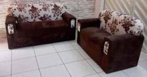 Conjunto de sofá 2 e 3 Lugares Xaropinho Suede Marrom Floral - Veneza Estofados