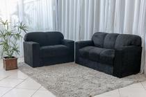 Conjunto de sofá 2 e 3 Lugares Xaropinho Suede Preto - Veneza Estofados