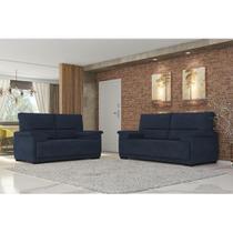 Conjunto de Sofá 3 e 2 Lugares Jandaia Espuma Soft Tecido Suede Azul Marinho - Best house