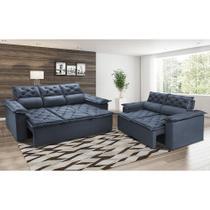 Conjunto de Sofá 3 e 2 Lugares Retrátil e Reclinável Cama inBox Compact 2,00x1,50m Velusoft Azul -