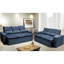 Conjunto de Sofá 3 e 2 Lugares Retrátil e Reclinável Cama inBox Slim 2,00x1,50m Velusoft Azul -