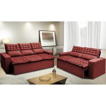 Conjunto de Sofá 3 e 2 Lugares Retrátil e Reclinável Cama inBox Slim 2,00x1,50m Velusoft Vermelho -