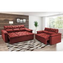 Conjunto de Sofá 3 e 2 Lugares Retrátil Reclinável Cama inBox Compact 2,00x1,50m Velusoft Vermelho -