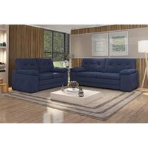 Conjunto de Sofá 3 e 2 Lugares Santa Fé Espuma Soft Tecido Suede Azul Marinho - Cama inbox