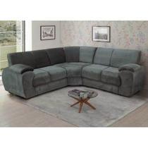 Conjunto de sofa canto estofar verona animale cinza -