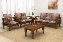 Conjunto de sofá de madeira maciça com almofadas 3 e 2 e 1 e mesa de centro - Belini