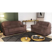 Conjunto de sofa ez lisboa 02 e 03 lugares tecido animali - tabaco - Ezequiel
