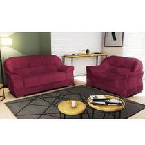 Conjunto de sofa ez lisboa 02 e 03 lugares tecido animali - vinho - Ezequiel