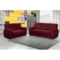 Conjunto de Sofá Luxemburgo 3 e 2 Lugares Tecido Suede Amassado Vinho - Moveis Marfim - Cama Inbox Req