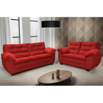 Conjunto de Sofá Macio com Fibra Premium 3 e 2 Lugares Tecido Suede Vermelho - Hellen Colchões E Estofados