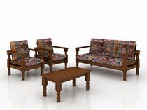 Conjunto de sofa madeira macica 3+1+1 lugares com almofadas - Belini