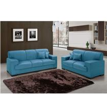 Conjunto de Sofás 3 e 2 Lugares Realeza Siena Móveis Azul -